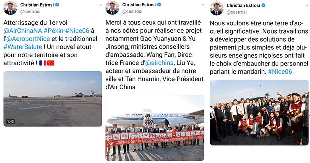Christian Estrosi, maire de Nice réagit à l'inauguration de la liaison Pékin-Nice opérée par Air China