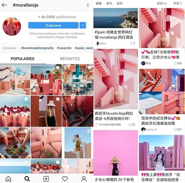 Posts inspirationnels de KOL sur les plateformes Instagram et Xiaohongshu