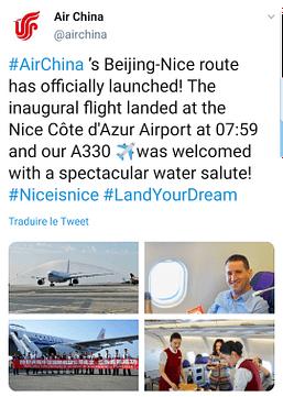 La compagnie aérienne Air China réagit par Twitter sur la nouvelle liaison Pékin-Nice